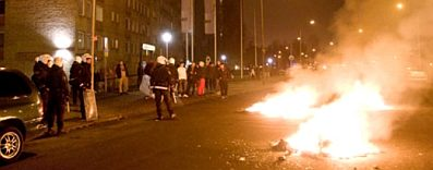Fires and police during a disturbance in Rosengård, a district of Malmö home to a high concentration of immigrants, Sweden