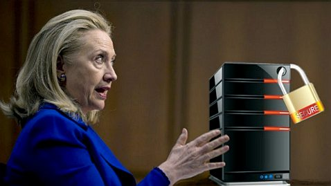 Hillary Clinton with an email server